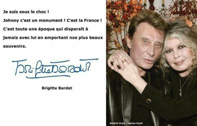 "Mort de Johnny Hallyday : Brigitte Bardot ""sous le choc"""