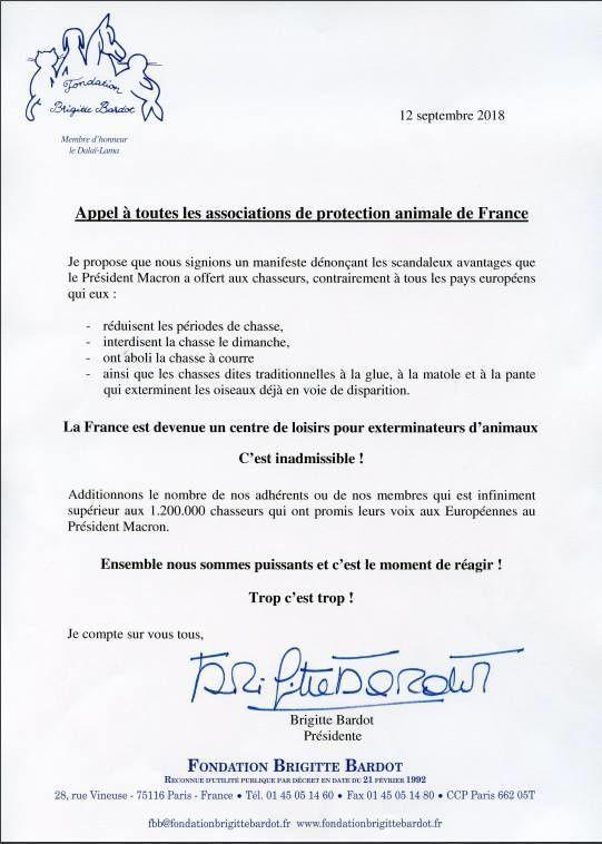 Brigitte Bardot : Appel à toutes les associations de protection animale !