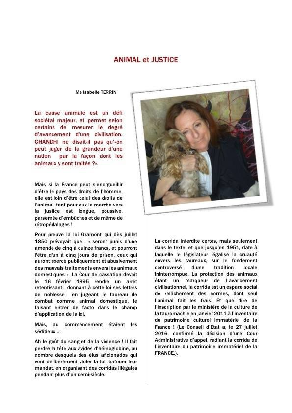 Isabelle Terrin l'avocate des animaux !
