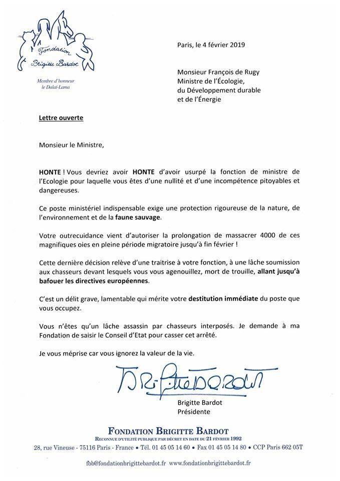 Lettre de Brigitte Bardot au ministre de l'écologie le 04 02 2019