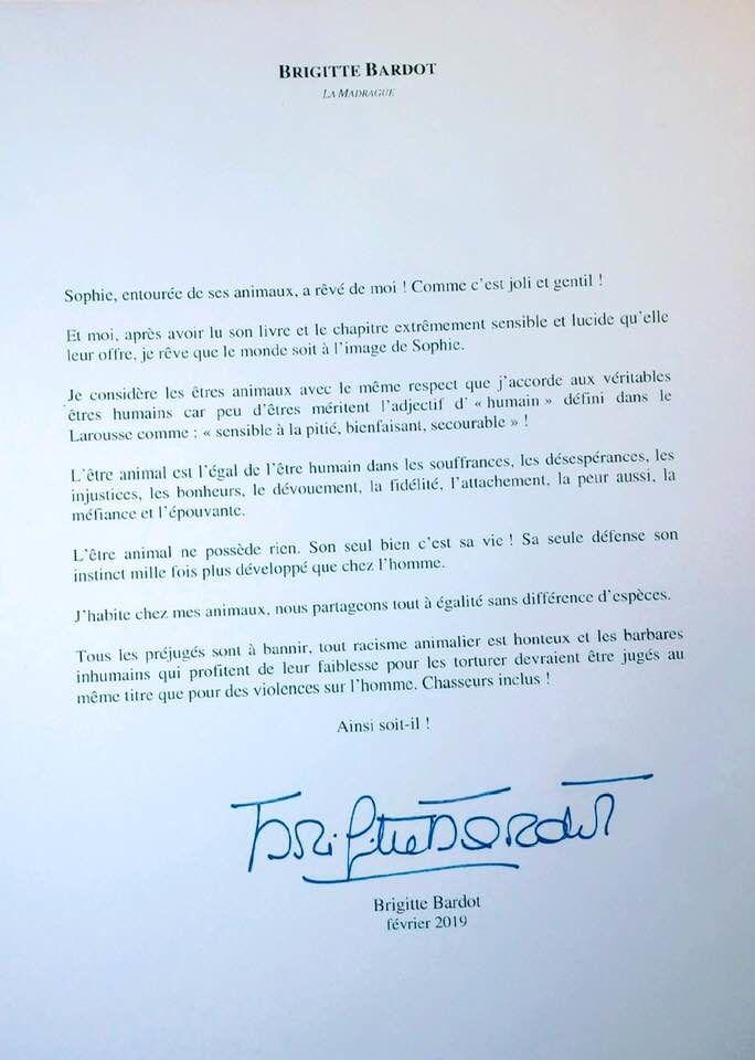 Brigitte Bardot écrit à Sophie Darel