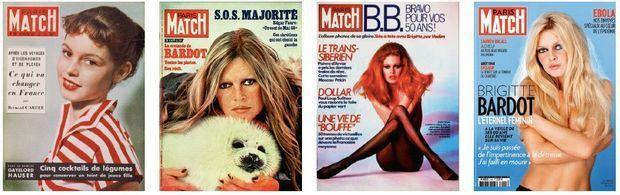 Couverture du Paris Match numéro 99 du 10 février 1951. Couverture du Paris Match numéro 1453 du 1er avril 1977. Couverture du Paris Match numéro 1843 du 21 septembre 1984. Couverture du Paris Match numéro 3405 du 21 août 2014.