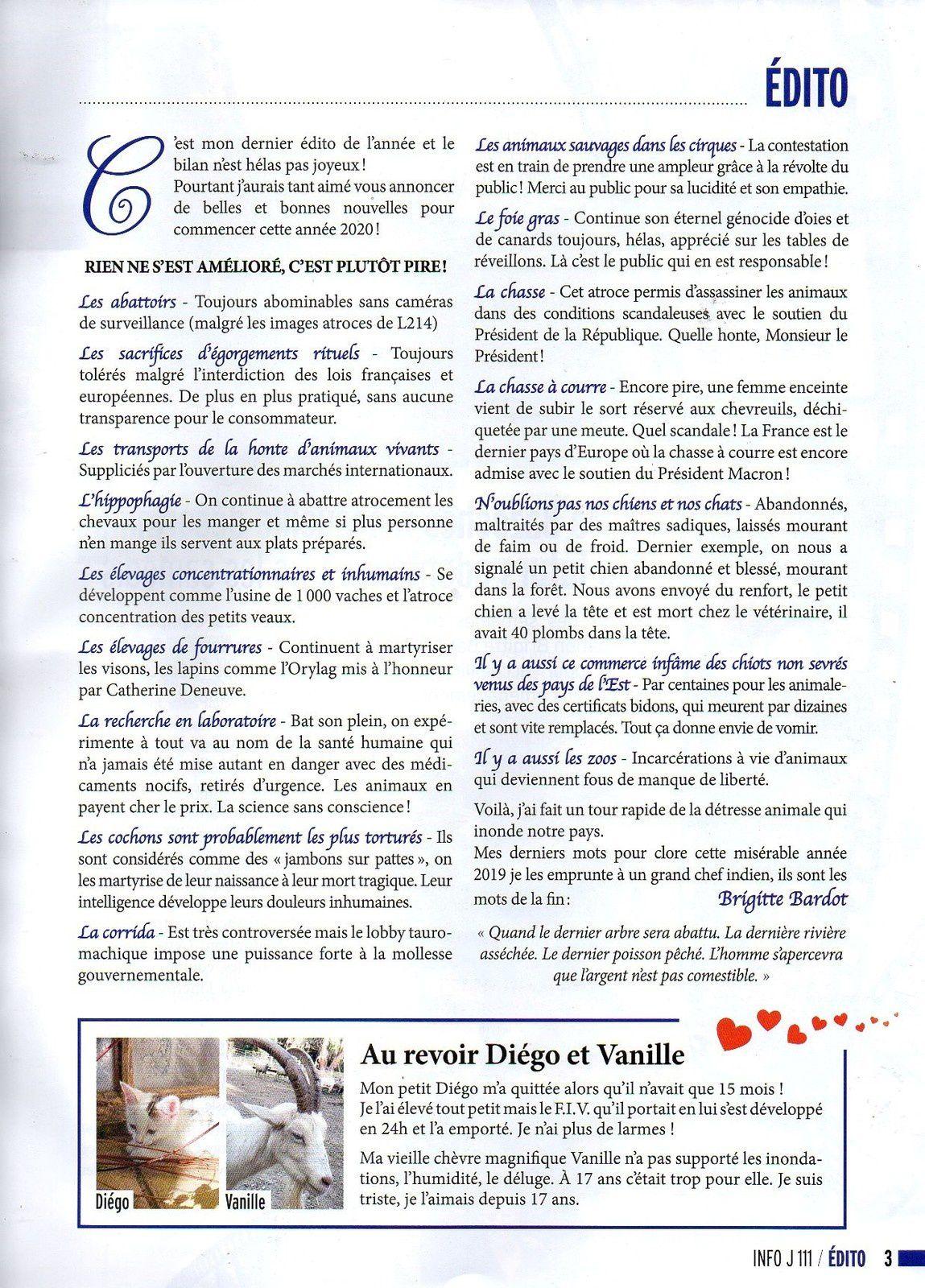 Info journal Fondation Brigitte Bardot 4ème trimestre 2019