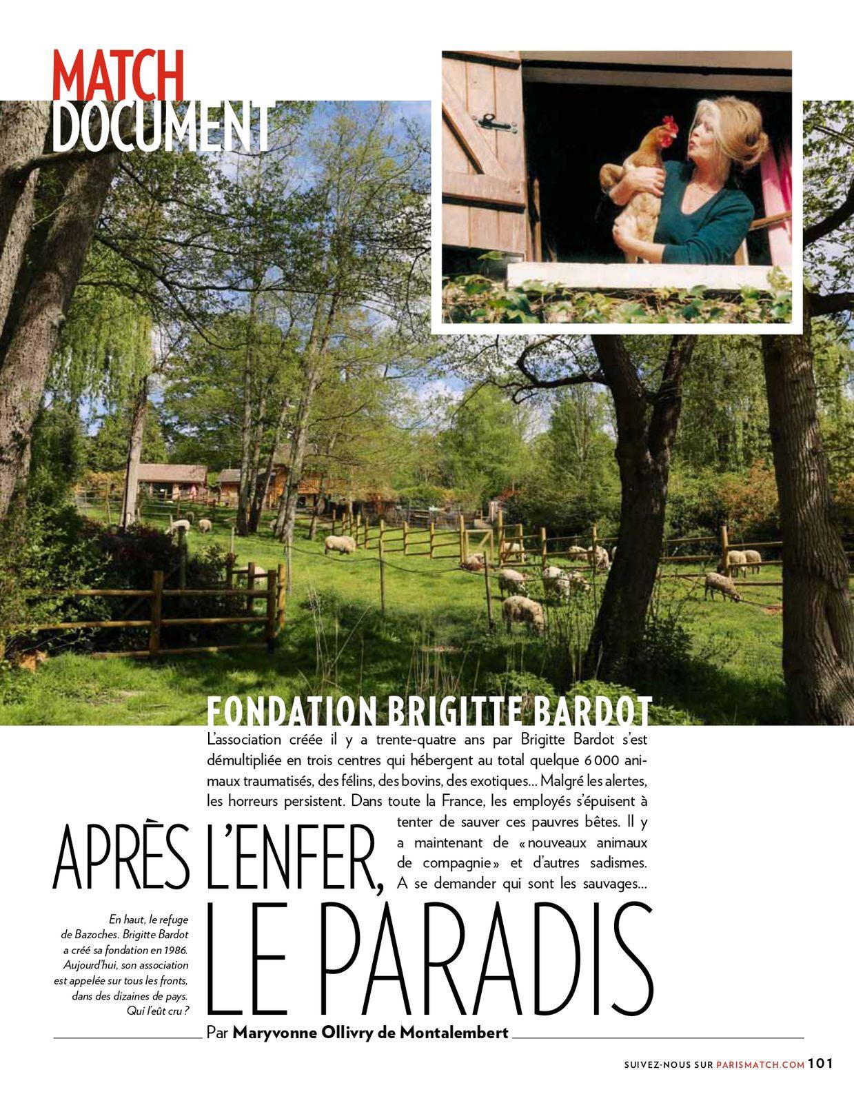 Paris Match : Article sur la Fondation Brigitte Bardot