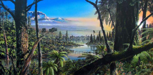 Représentation d'artiste de la forêt tempérée qui existait il y a 90 millions d'années en Antarctique occidental, selon une nouvelle étude.  © Alfred-Wegener-Institut/J. McKay