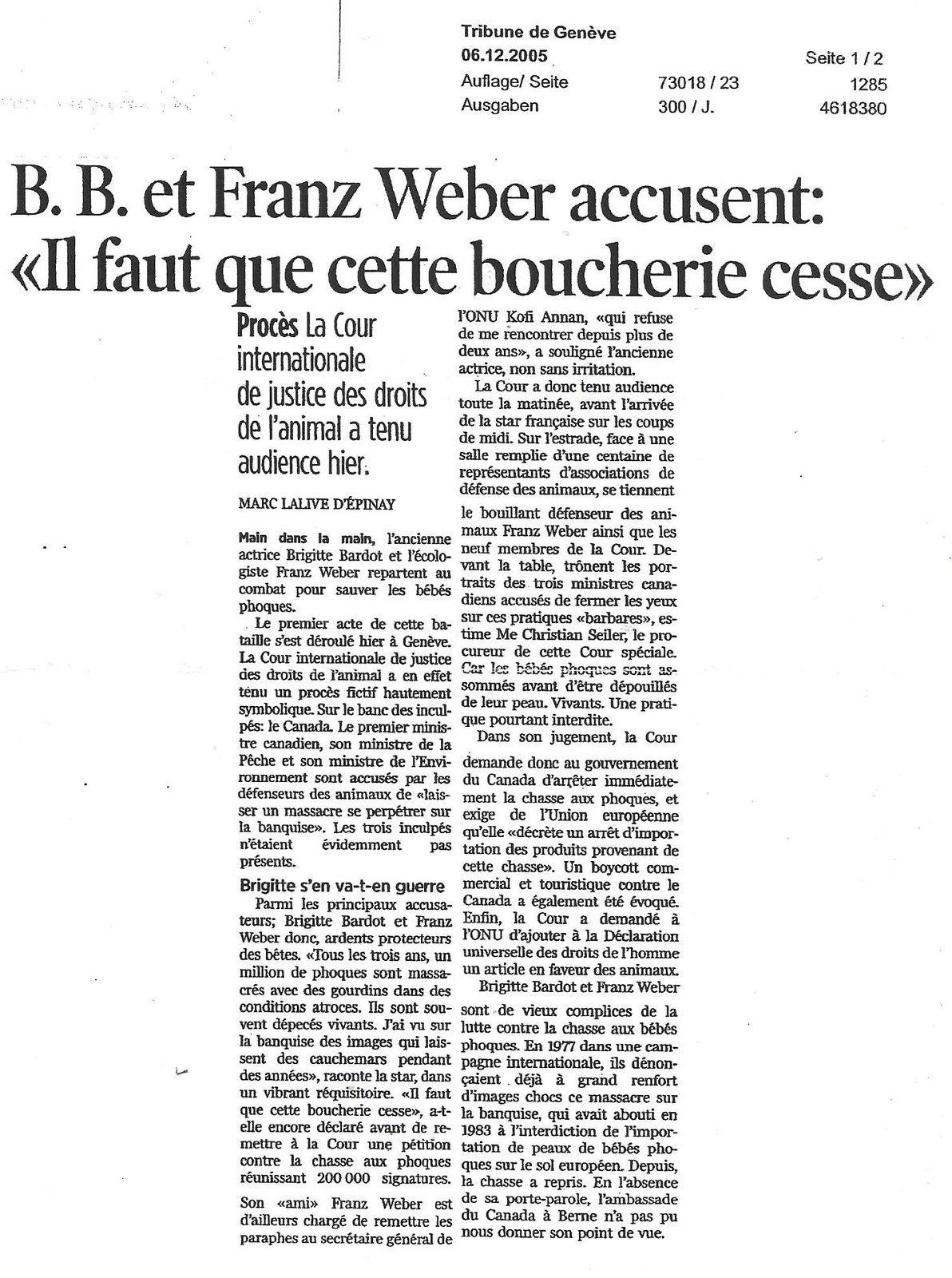 Brigitte Bardot et Franz Weber conférence de presse à Genève le 05 12 2005...Vidéo inédite !