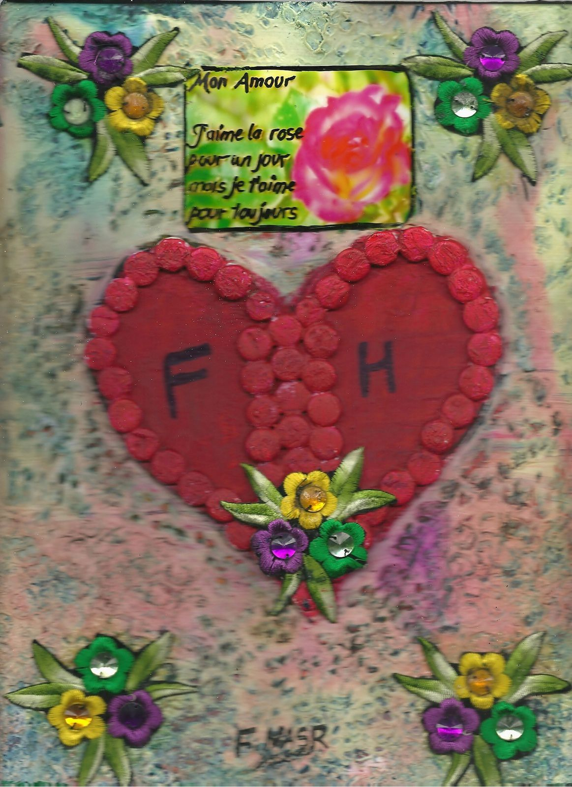 art,journal,carterie,scrapbooking,vintage,carte,faite,main,offrande,amour,valentin,cœur,oiseaux,cage,fleurs,toi,moi,love,card,valentine,day,heart,beads,you,me,Sally,and,Jack,offering,red,rose,Fathia,Nasr,