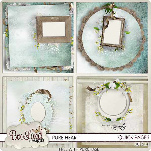 """Kit de scrapbooking """" Pure Heart """" (Pages with frames and clusters)"""