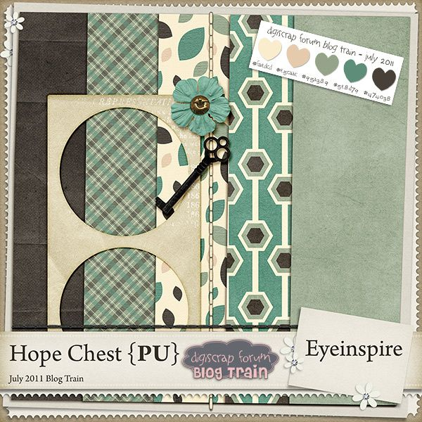 """Kit scrapbooking bleu and marron by Eyeinspire """"Hope Chest"""""""