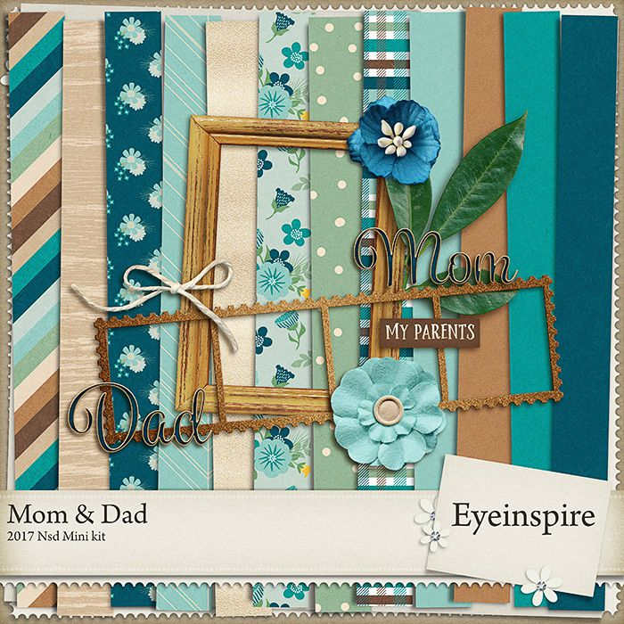 """Kit scrapbooking bleu and marron by Eyeinspire """"Mom and Dad"""""""
