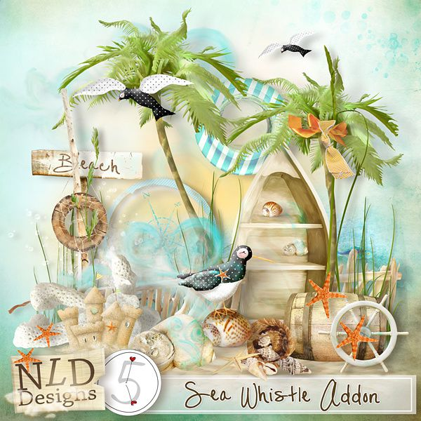 "Kit de scrapbooking ""Sea Whistle - Sifflet de mer"" (Elemsnts and Pages inspirations)"