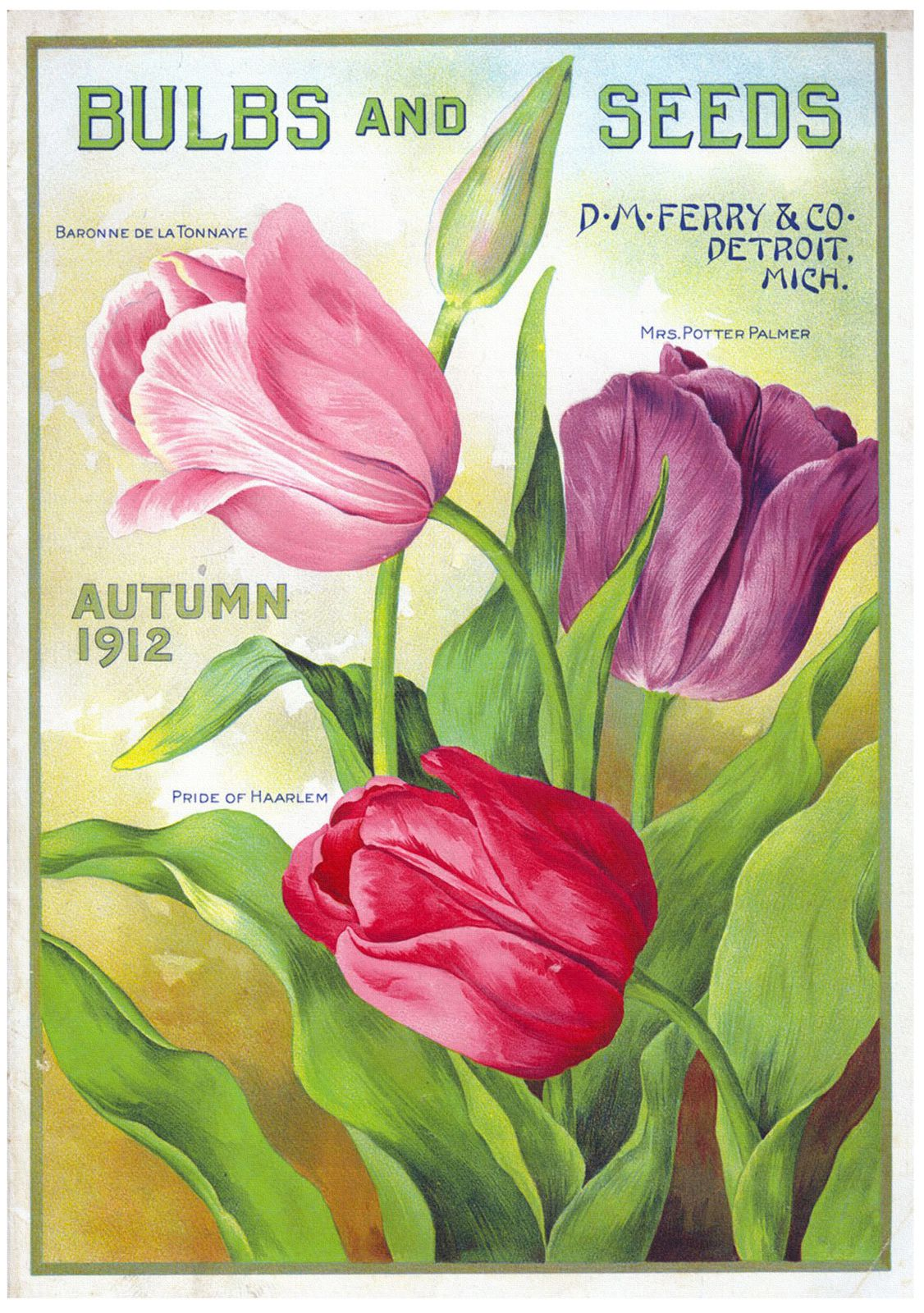 Freebies vintage scans cards theme autumn : bulbs and seeds