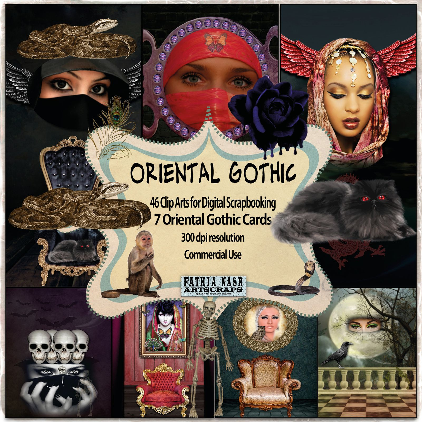 Gothisme-Belles femmes orientales-Cartes-Oriental-Gothic-Halloween-Kit scrapbooking-digital images-amazing gothic cards-Commercial-Use-