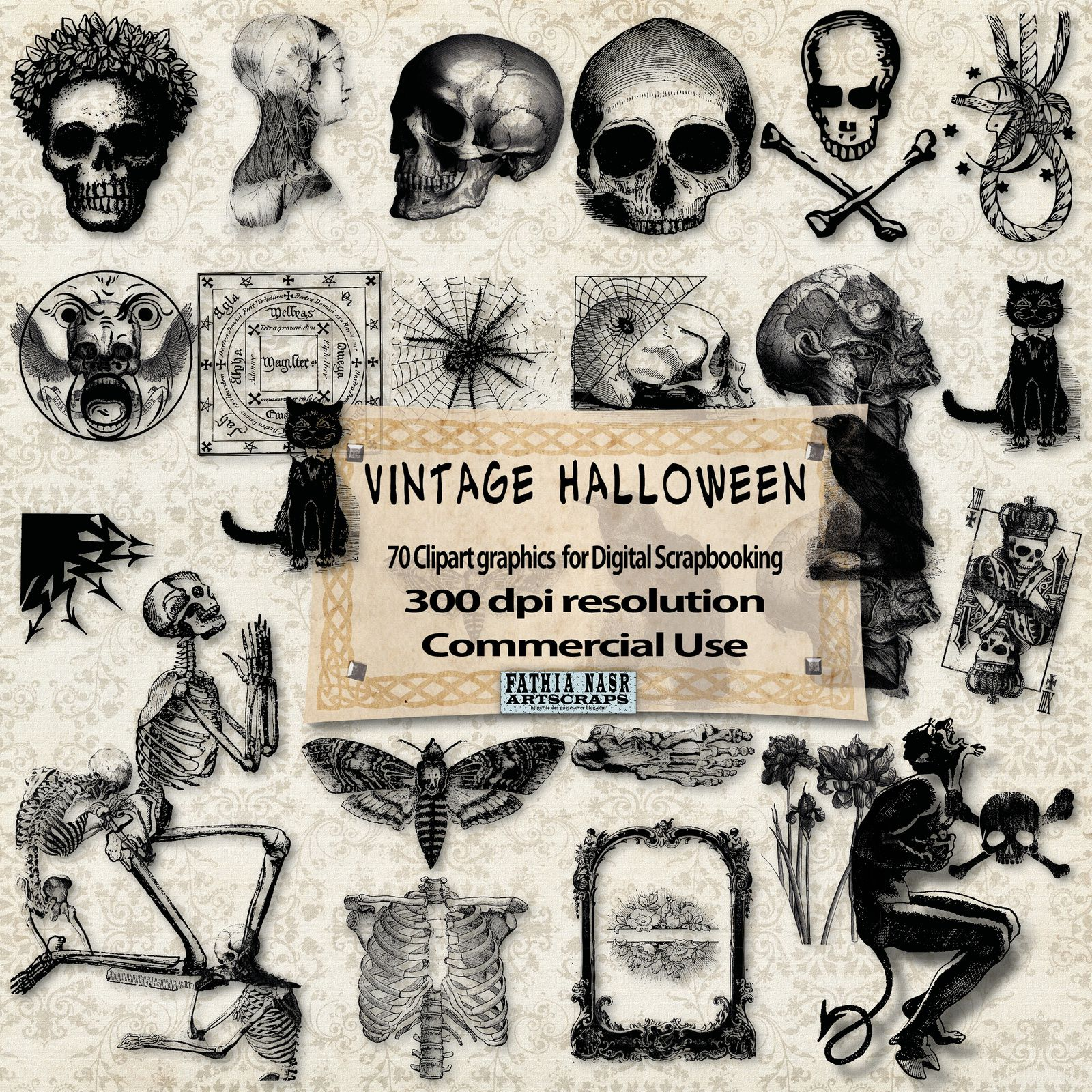 Gothic-Halloween-Kit scrapbooking-digital images-Commercial-Use-Raven-Crow-Owl-Skull-Cranes-Skeleton-Squelettes-