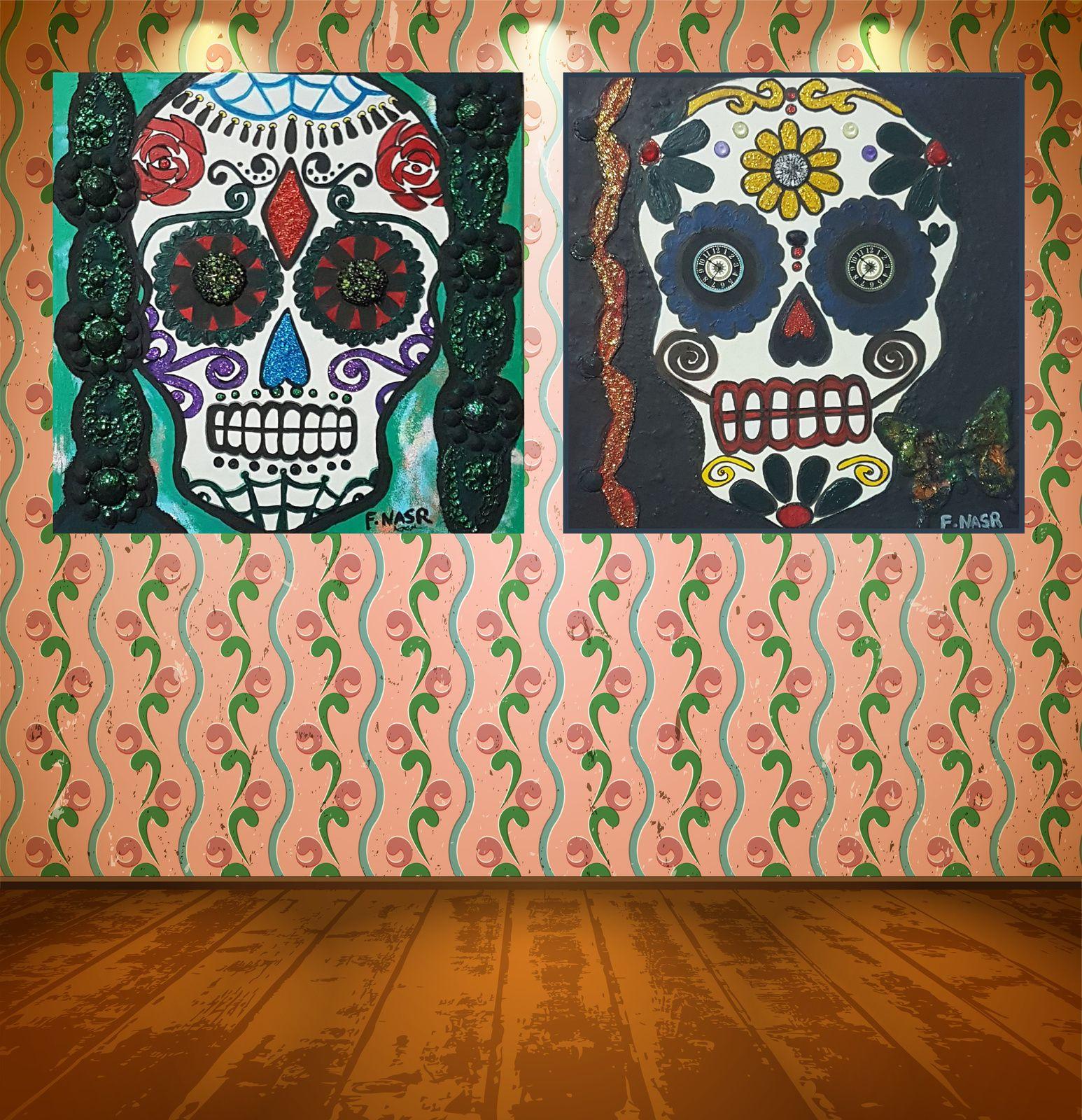 calaveras skull, têtes de mort, tableaux mexicains, jour des morts, peintures mexicaine, Peinture technique mixte, Muertos sur toile, Fathia Nasr, Crânes mexicains peinture, Sugar Skull peinture, day of the dead, El Dia de los Muertos, Tableau Calavera, Peinture Calavera,
