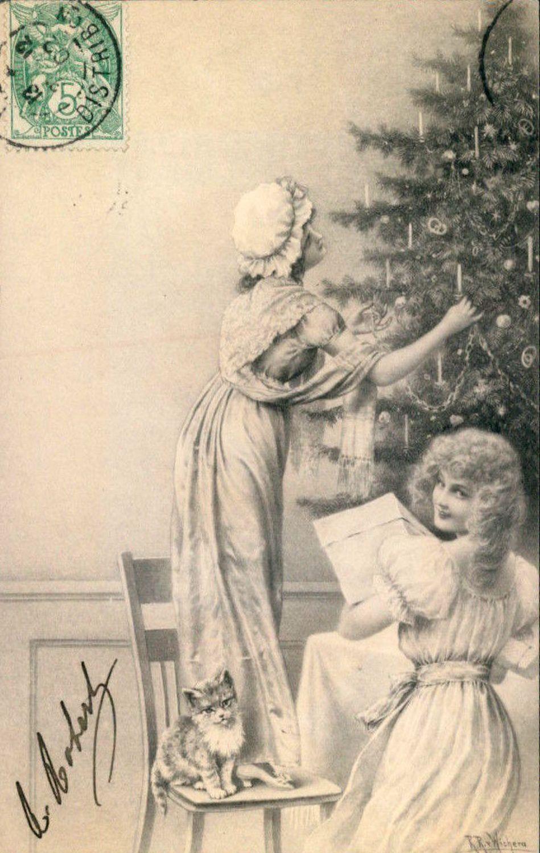 Une belle collection vintage des Cartes de Noël et du Nouvel an thème femmes ou laidies