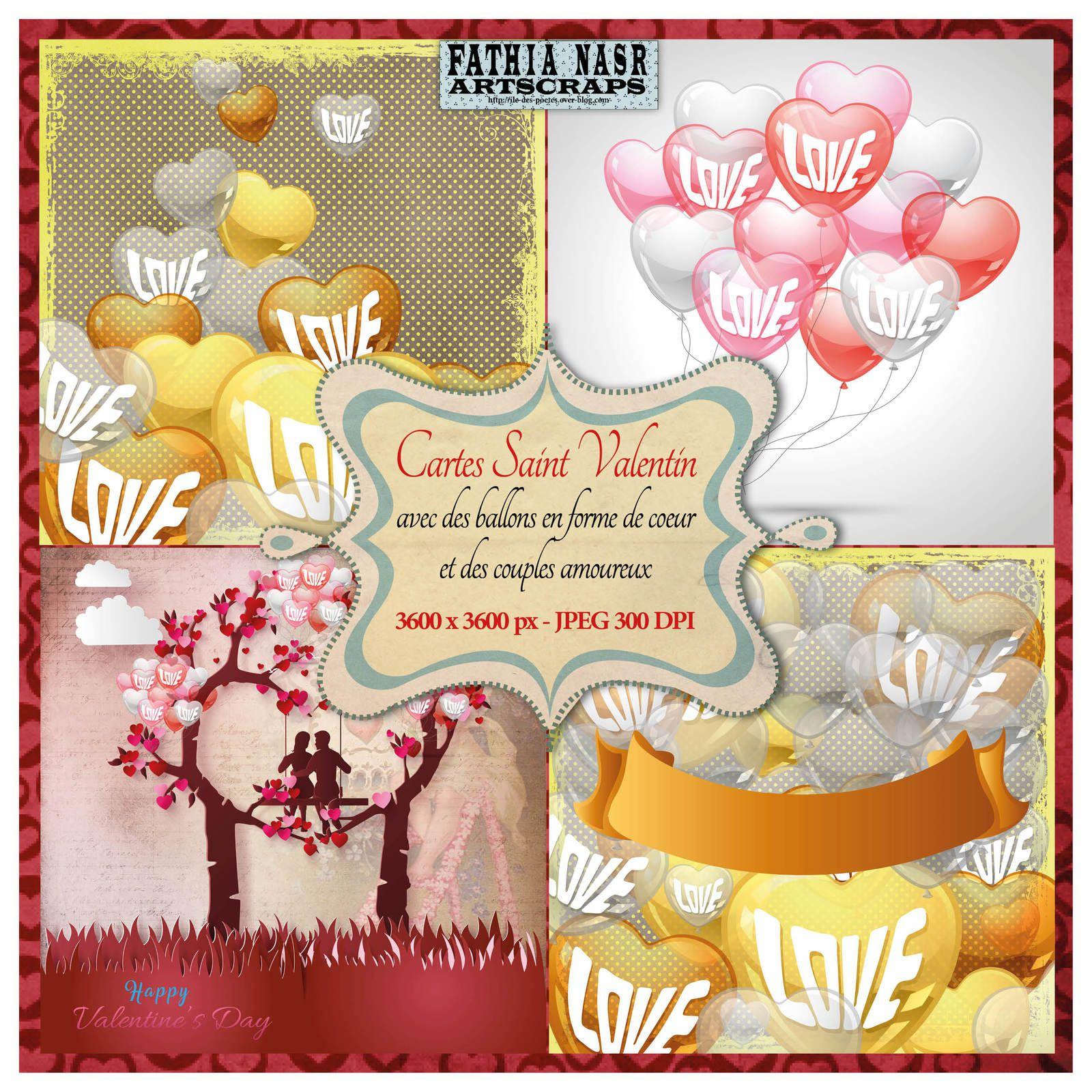 Cartes de vœux de la Saint Valentin, Cartes St Valentin imprimables, Couples amoureux, Fille sur bicyclette, Ballons en forme de cœur, Hearts shapes,