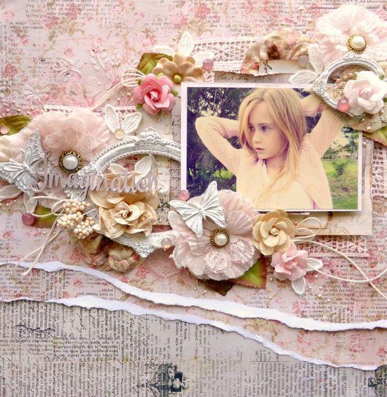 Pages de scrapbooking Cartes style Shabby Chic Inspirations en images