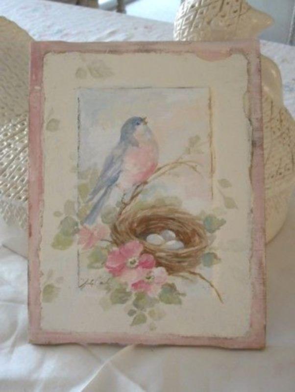 Merveilleux fonds, cartes et tags imprimables style Shabby avec des fleurs et des oiseaux