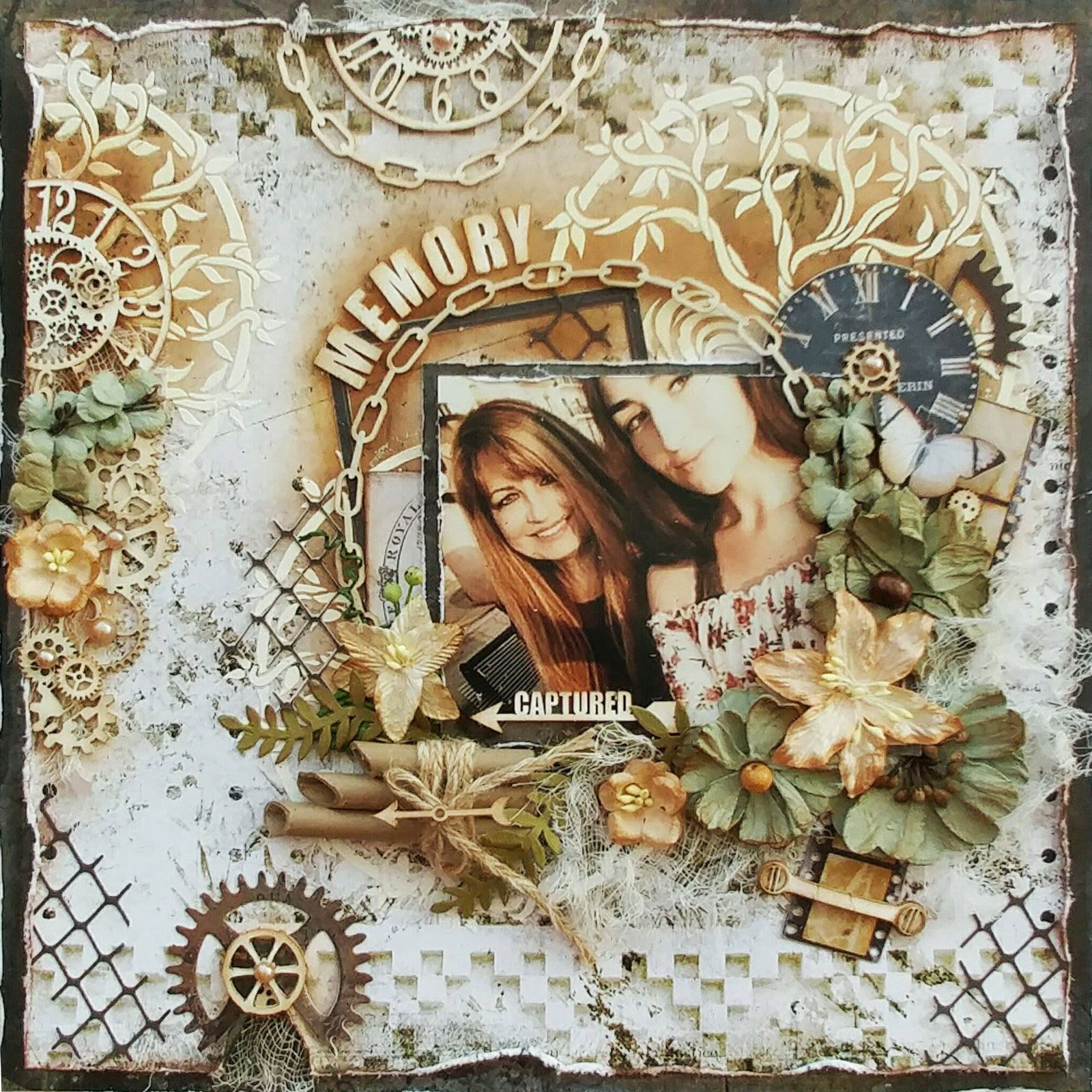 Mixed media layout tutorial, How to make a mixed media, scrapbook layout, Memory Captured, Gabrielle Pollacco