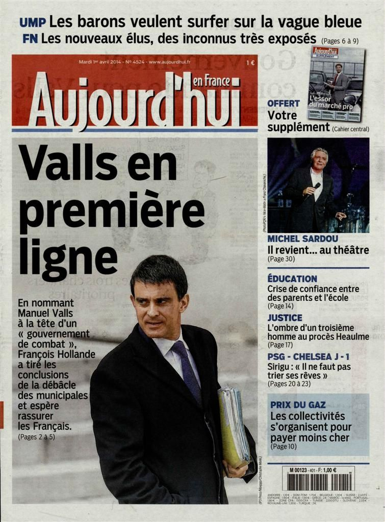 Nouveau gouvernement : Valls à la Une de la presse nationale.