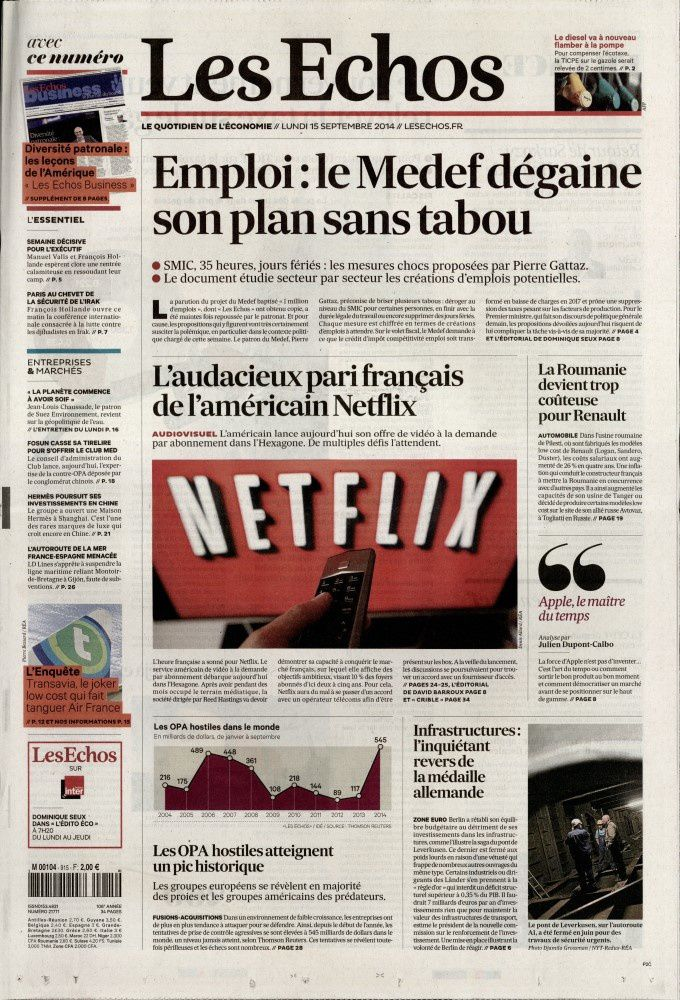 La Une de la presse quotidienne nationale ce lundi 15 septembre.