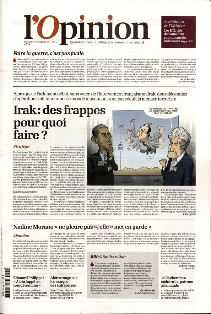La Une de la presse quotidienne nationale ce 24 septembre.