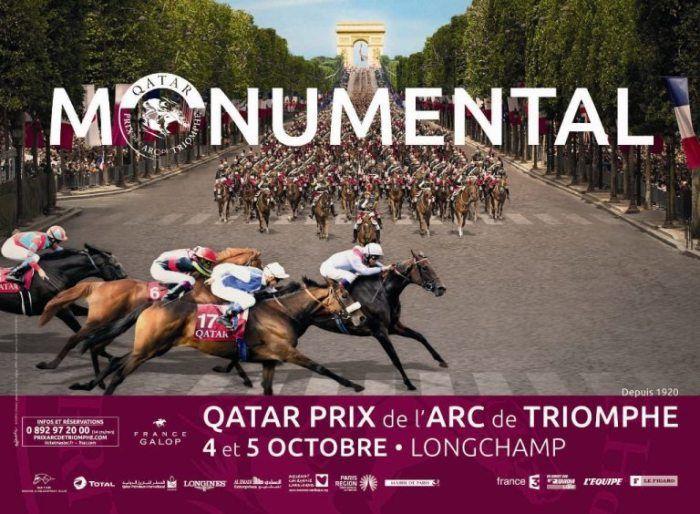 Monumental, la campagne pub pour le Qatar Prix de l'Arc de Triomphe.