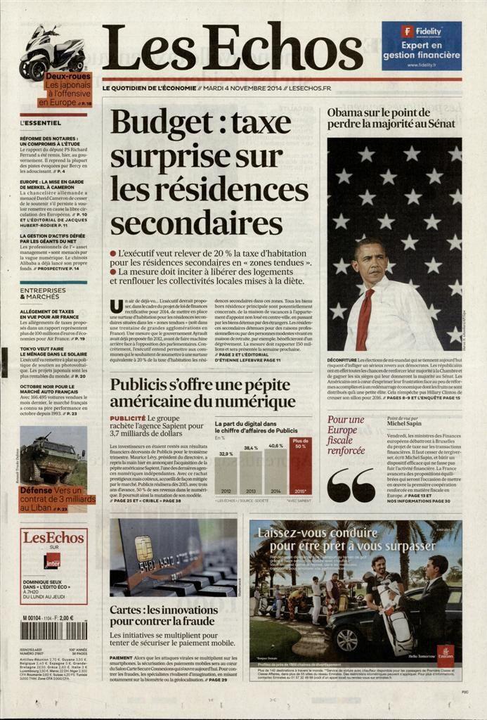 La Une des quotidiens nationaux ce mardi 4 novembre.