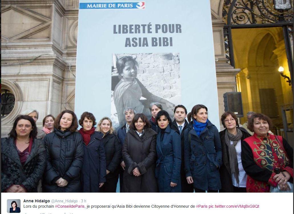 Anne Hidalgo propose de désigner Asia Bibi Citoyenne d'Honneur de la Ville de Paris.