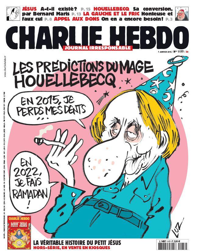 Houellebecq croqué par Luz en Une de Charlie Hebdo ce mercredi.