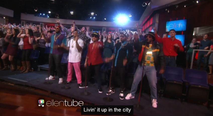 'Uptown Funk' par Mark Ronson et Bruno Mars dans le talk d'Ellen DeGeneres (Vidéo).