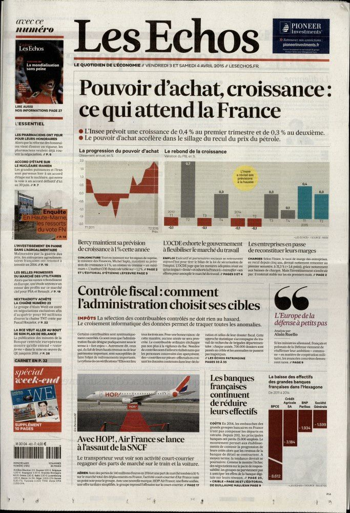 La Une de la presse quotidienne nationale ce 3 avril.