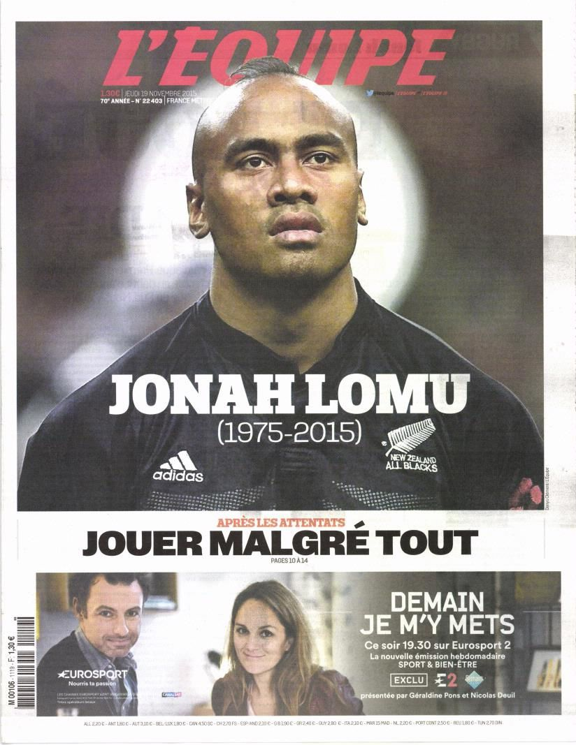 L'hommage de L'équipe à Jonah Lomu ce jeudi.
