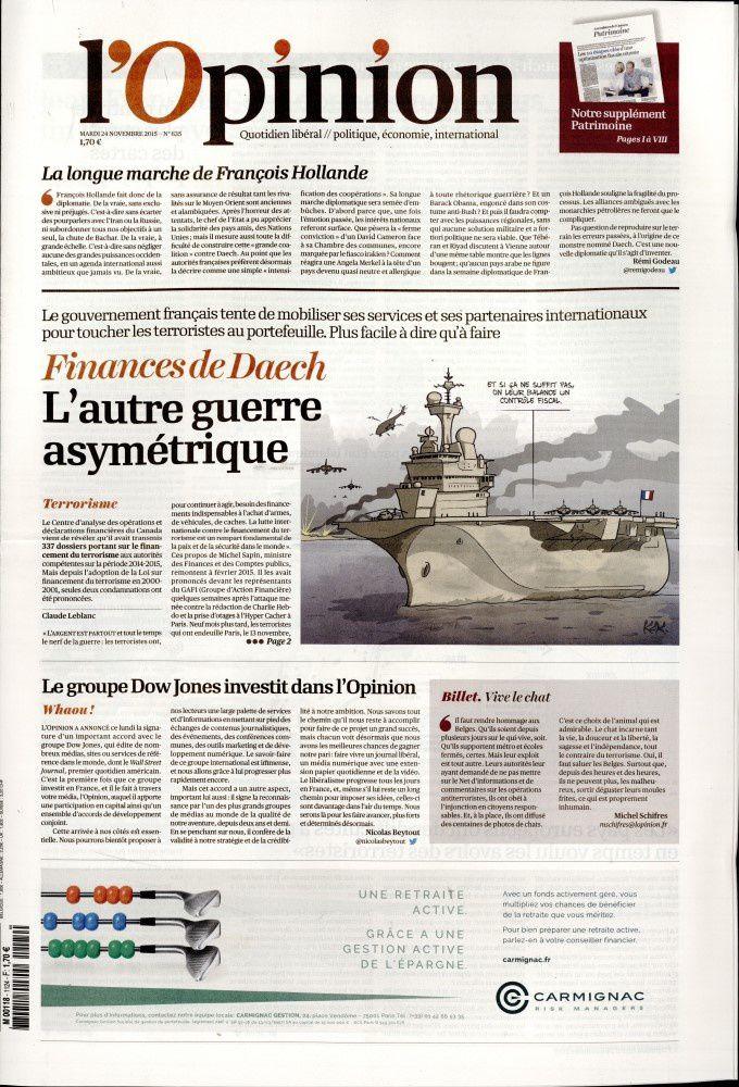La Une de la presse quotidienne nationale ce 24 novembre.