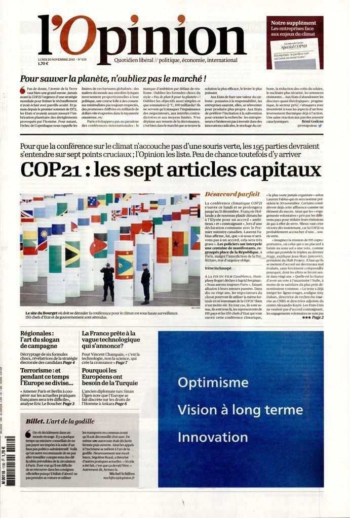 La Une de la presse quotidienne nationale ce 30 novembre.
