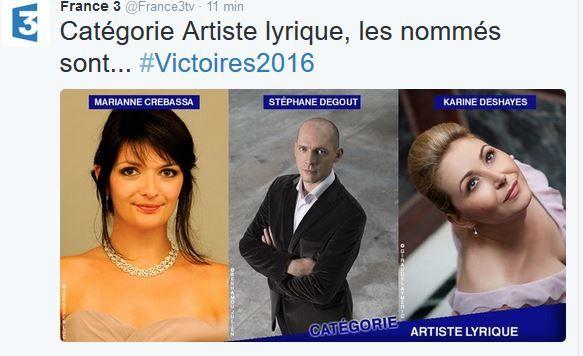 Le palmarès des Victoires de la musique classique 2016.