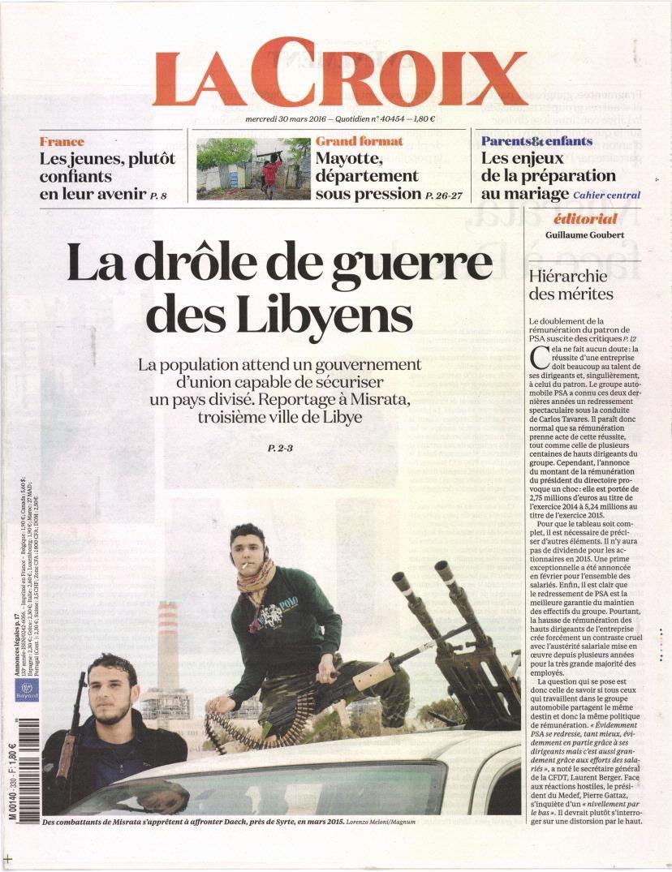 La Une des quotidiens nationaux ce mercredi 30 mars.