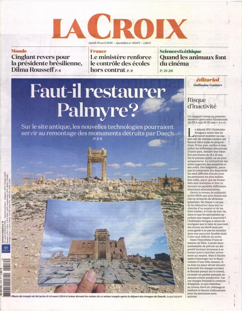 La Une de la presse quotidienne nationale ce mardi 19 avril.