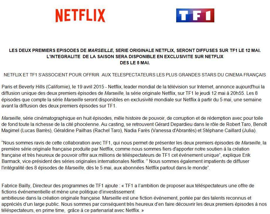 Totalement inattendu : les 2ers épisodes de Marseille (Netflix) le 12 mai sur TF1.