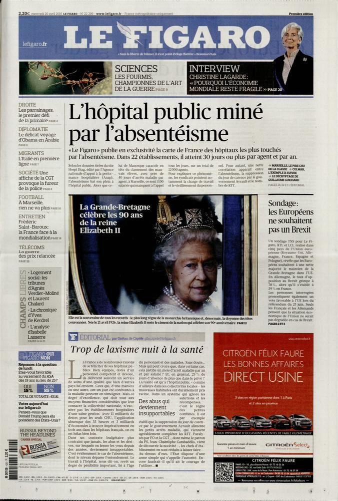 La Une des quotidiens nationaux ce mercredi 20 avril.