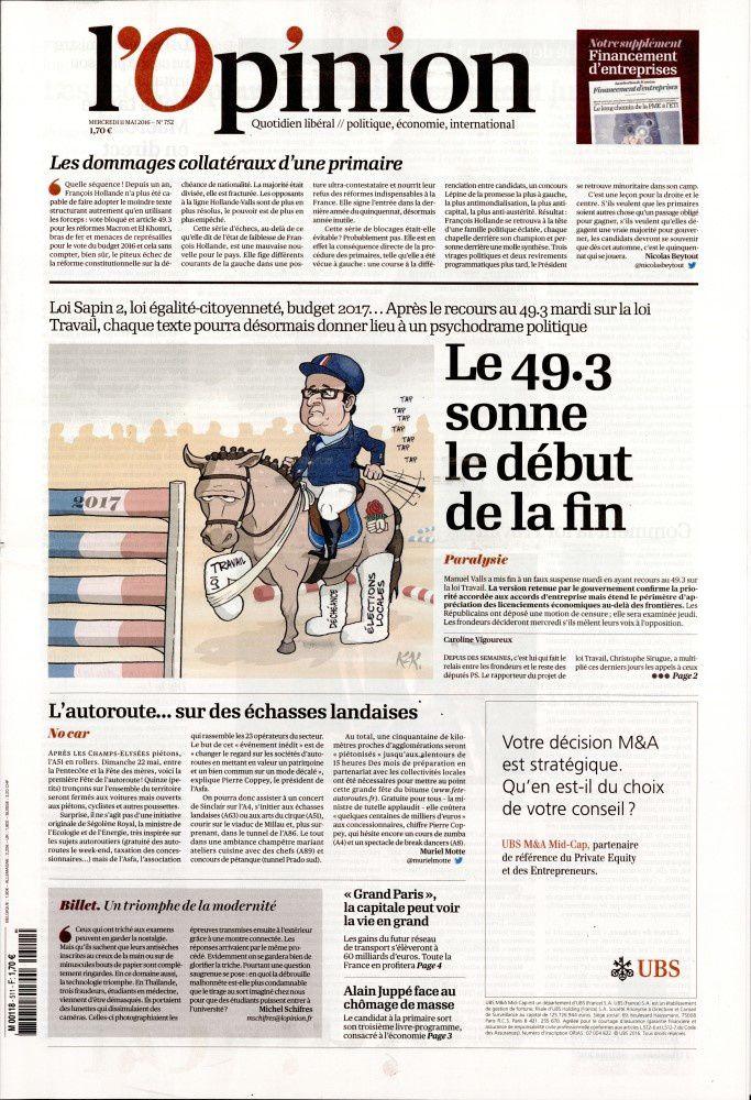 La Une des quotidiens nationaux ce mercredi 11 mai.