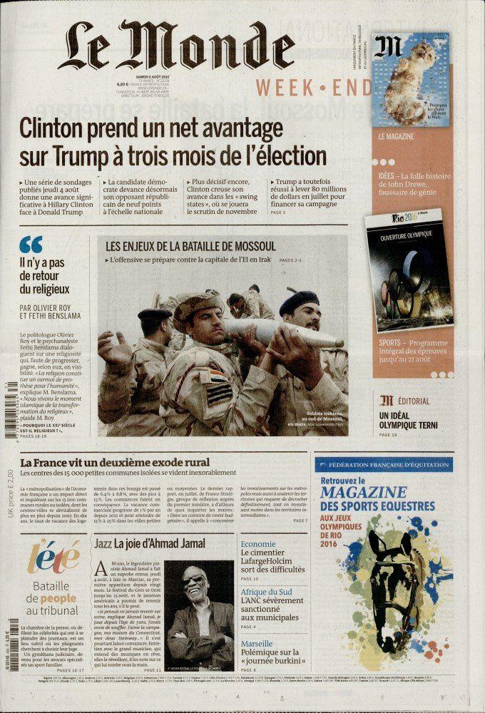 La Une des quotidiens nationaux ce samedi 6 août.