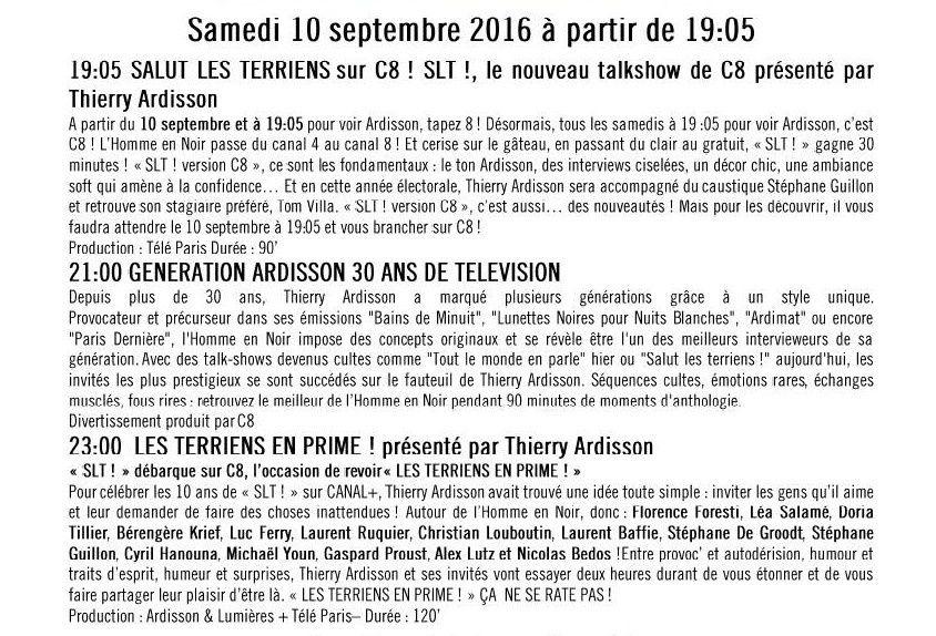 Soirée spéciale Ardisson le 10 septembre sur C8.