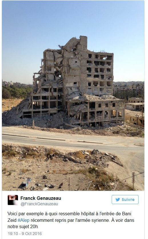 Document diffusé sur France 2 : Dans les rues détruites d'Alep (Vidéo).