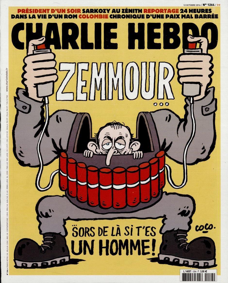 Zemmour croqué par Coco en Une de Charlie Hebdo ce mercredi.