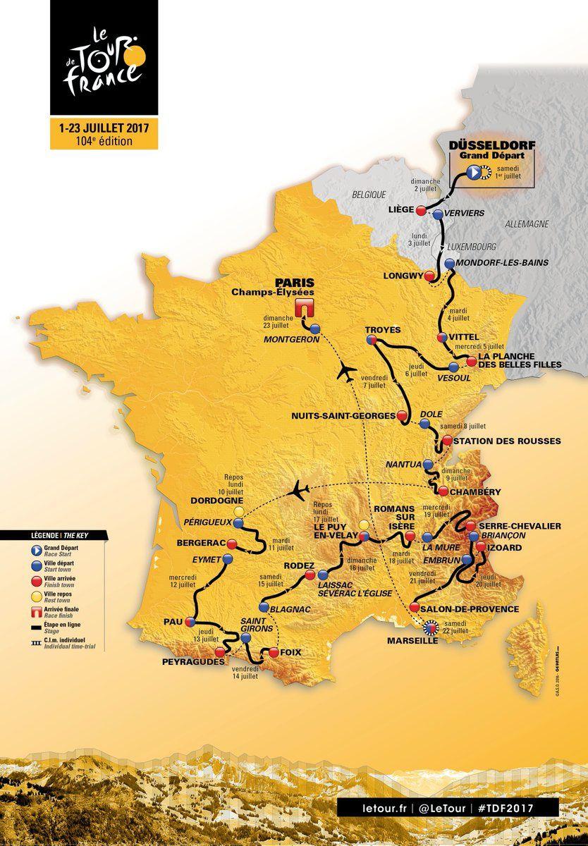 La présentation officielle des 21 étapes du Tour de France cycliste 2017.