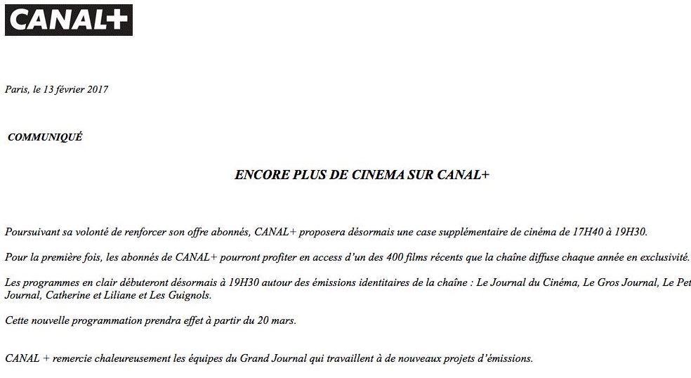 Canal+ met un terme au Grand Journal le mois prochain.
