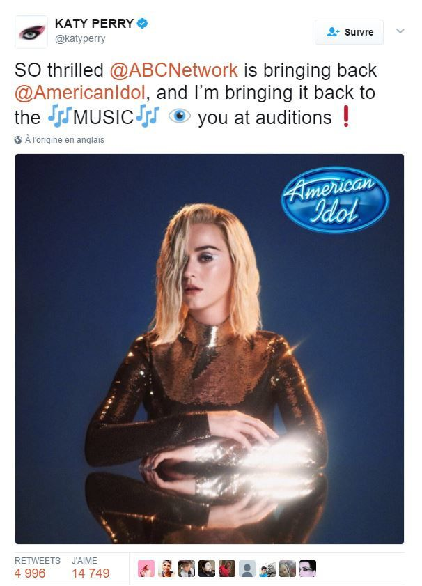Katy Perry future juge du concours American Idol.