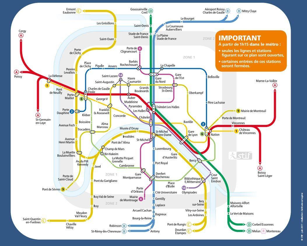 Plan des lignes métro et RER fonctionnant toute cette nuit pour la fête de la musique.